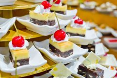 Assortment of sweets in buffet line Royalty Free Stock Photos