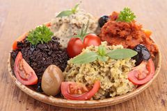 Assortment of tapenade, olive spread Royalty Free Stock Images