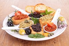 Assortment of tapenade and toast Royalty Free Stock Image