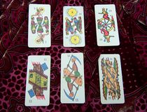 Assortment of Tarot on a colored background royalty free stock photos