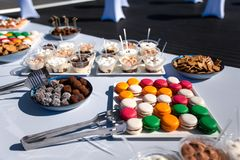 Assortment of tasty appetizers - canapes, cookies on the white tablecloth royalty free stock images