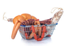Assortment of tasty delicious dried and boiled sausages in shopp Stock Photography