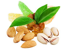 Assortment of tasty nuts with leaves Royalty Free Stock Image