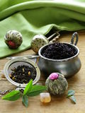 Assortment of tea - black leaf, green, exotic Royalty Free Stock Photos