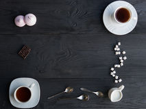 An assortment tea, coffee, marshmallow and chocolate. Royalty Free Stock Image