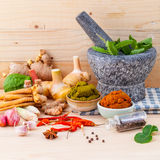 Assortment of Thai food Cooking ingredients in glass bottles Stock Photos
