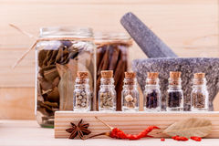 Assortment of Thai food Cooking ingredients in glass bottles Stock Photo