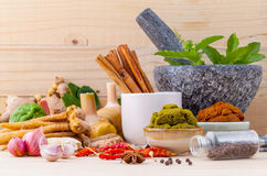 Assortment of Thai food Cooking ingredients and Paste of thai Stock Image