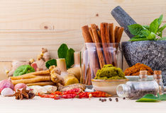 Assortment of Thai food Cooking ingredients and Paste of thai Stock Photos