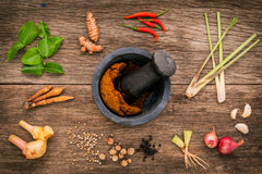 Assortment of Thai food Cooking ingredients and spice red curry Royalty Free Stock Photos