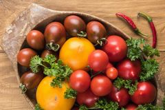 Assortment of tomatoes in bowl royalty free stock image