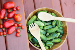 Assortment of tomatoes and cucumbers Royalty Free Stock Photos
