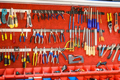 Assortment Of Tools In Tool Shed Workshop Royalty Free Stock Photography