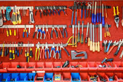 Assortment Of Tools In Tool Shed Workshop Stock Photo