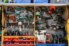 Assortment Of Tools In Tool Shed Workshop Stock Image