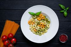 Assortment of tortellini, different kinds of vegetarian pasta wi royalty free stock photo
