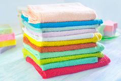 Assortment of towels and soap Stock Photo