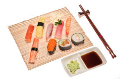 Assortment of traditional japanese sushi Stock Photo