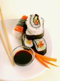 Assortment of traditional japanese sushi Stock Images