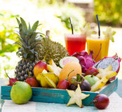 Assortment of tropical exotic fruits with smoothie and fresh juice Stock Images