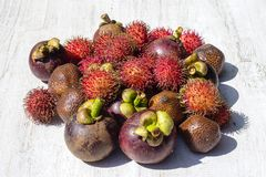 Assortment of tropical fruits in island Bali, Indonesia. Close up Stock Images