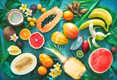 Assortment of tropical fruits with palm leaves and exotic flower. S. Top view stock photo