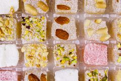 Assortment turkish delight in box close-up. Assortment turkish delight in a box close-up stock photography