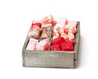 Assortment  turkish delight in  wooden box isolated on white Royalty Free Stock Image