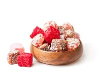 Assortment  turkish delight in  wooden plate isolated on white Stock Images