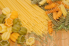 Assortment of uncooked pasta Stock Images
