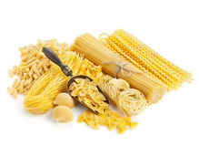 Assortment of uncooked pasta  on white Royalty Free Stock Photo