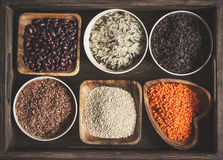 Assortment of a variety of delicious and healthy cereals Royalty Free Stock Images