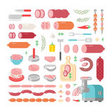 Assortment variety of processed cold meat products vector icons. Variety of food delicious meat icons products and sausage meat products vector icons Royalty Free Stock Photos