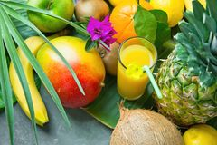 Variety of Tropical Seasonal Summer Fruits Pineapple Mango Oranges Lemons Kiwi Coconut Bananas Glass of Fresh Juice on Palm Leaf. Assortment Variety of Tropical Royalty Free Stock Images