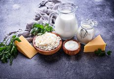 Assortment of various dairy products. Assortment of dairy products. Milk, yogurt, sour cream, cottage and cheese royalty free stock photo