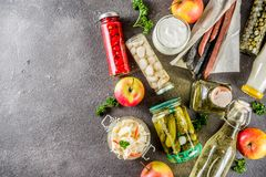 Assortment of various fermented food. Apple cider vinegar, fermented meat and vegetables, sauerkraut, pickled peppers, tomatoes, garlic, capers, black stock image