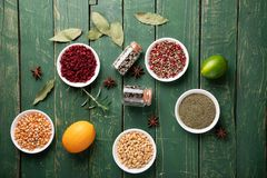 Assortment of various food items stock photography
