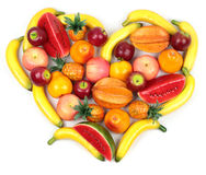 Assortment of various fruits heart shaped Royalty Free Stock Image