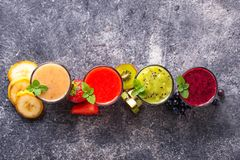 Assortment of various healthy smoothies Stock Photography