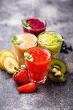 Assortment of various healthy smoothies Royalty Free Stock Images