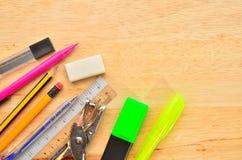 Assortment of various school items Stock Photos