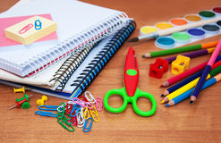 assortment of various school items royalty free stock images