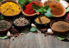 assortment of various spices and herbs on a wooden background Royalty Free Stock Image