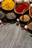 assortment of various spices on a wooden background, vertical Royalty Free Stock Photography