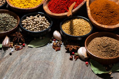 assortment of various spices on a wooden table, closeup Royalty Free Stock Photos