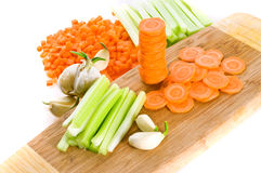 Assortment with vegetable. On slice Stock Photography