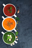 Assortment of vegetable cream soup on and dark background Royalty Free Stock Photos