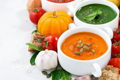 Assortment of vegetable cream soups and ingredients on white Royalty Free Stock Photos