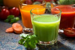 Assortment of vegetable juices, closeup Royalty Free Stock Photography
