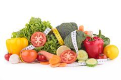 Assortment of vegetable and measuring tape Stock Photography